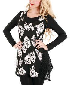 Look at this #zulilyfind! Black & White Rose Sleeveless Tunic #zulilyfinds