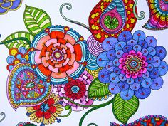 Ode to bright colors! Zentangle Drawings, Doodles Zentangles, Zentangle Patterns, Art Drawings, Zen Doodle, Tangle Doodle, Doodle Art, Art Et Illustration, Illustrations