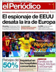 Los Titulares y Portadas de Noticias Destacadas Españolas del 1 de Julio de 2013 del Diario El Periódico ¿Que le parecio esta Portada de este Diario Español?