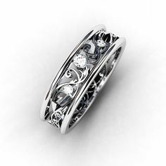Diamond ring, 18k, White gold wedding band, filigree ring, lace,  Diamond wedding band, vintage style, unique, wedding ring