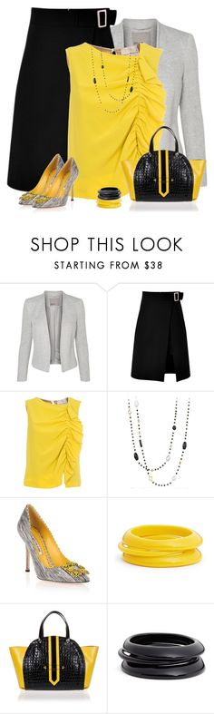 """Black, Gray & Yellow"" by csilla06 ❤ liked on Polyvore featuring storets, Erika Cavallini Semi-Couture, David Yurman, Manolo Blahnik, ZENZii and Braccialini"