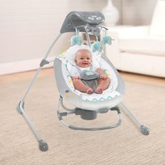 """Ingenuity InLighten Cradling Swing - Avondale - Kids II - Babies""""R""""Us Baby Shower Deco, Baby Shower Themes, Shower Ideas, Elephant Baby Swing, Toddler Toys, Baby Toys, Toy Baby Carrier, Baby Girl Strollers, Baby Rocker"""