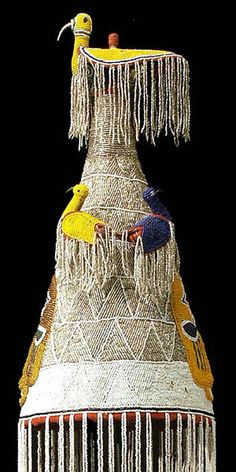 Africa | Yoruba Beaded Crown.  Nigeria. | Traditionally, Yoruba crowns were worn by the king, or Oba, in public ceremonies. They were embellished with symbolic designs. Beads were signs of wealth and status. This crown shows signs of age and use.