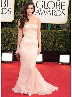 Golden Globes Red Carpet 2013 -  Megan Fox - The new mom rocked a sexy Dolce & Gabbana blush lace strapless gown.