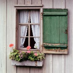 Sweet farmhouse window inspiration with shutters and window box w/geraniums and other flowers