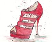illustration red shoes on Etsy, a global handmade and vintage marketplace.