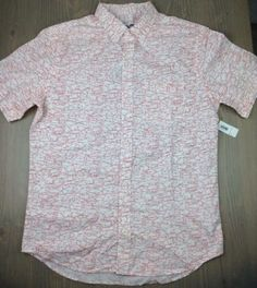 Old Navy Dress Shirt Medium Mens Classic Slim Fit Short Sleeve Fish Wht Red NWT