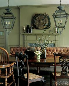 Fabulous aged leather bench seat...very eclectic room.  Love it!