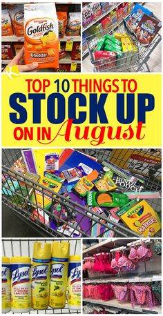 Top 10 Things to Stock Up on in August - Find school supplies, printer paper, seasonal produce and more for cheap in the month of August. When you see rock-bottom prices, STOCK UP for big savings that will last you months. Saving Ideas, Money Saving Tips, Money Tips, Frugal Living Tips, Frugal Tips, Couponing For Beginners, Save Money On Groceries, Groceries Budget, Extreme Couponing