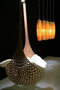 Eco Modern Designer David Trubridge's Cradle. I would adore something relaxingly similar but in a grey wood tone for my future covered back or side porch.