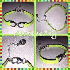 Bracelet#bracciale#jewels#infinito#strass#charms#handmade#alcantara#colori#bijoux#verdefluo#