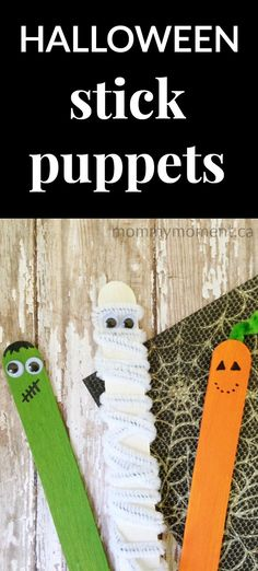 This Halloween craft idea is perfect for children of all ages!  With only a few supplies needed, you and your child can create these fun Halloween Stick Puppets for hours of fun playtime.