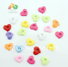 set of 300pcs plastic kitsch Heart Two Holes Plastic Sewing Buttons kawaii children Buttons,14mm assorted -SK0132 $10.99