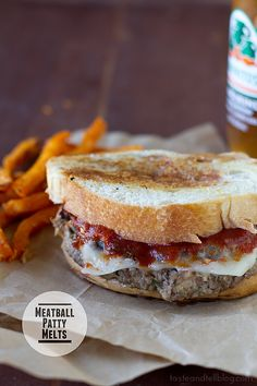 Meatball Patty Melts with Balsamic Marinara Ketchup | www.tasteandtellblog.com