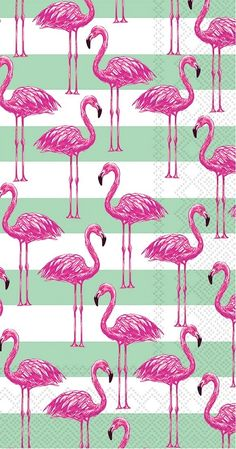 IHR Rosanne Beck Flamingo Stripe Bird Theme Printed 3-Ply Paper Guest Towels Wholesale BF738800