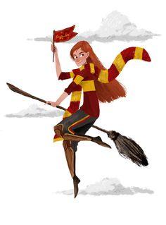 """Gryffindor Pride with Ginny"" - Victoria Skellan Harry Potter Girl, Harry Potter Artwork, Harry Potter Cosplay, Harry Potter Fandom, Harry Potter Characters, Ginny Weasley, Zbrush, Harry And Ginny, Hogwarts Mystery"