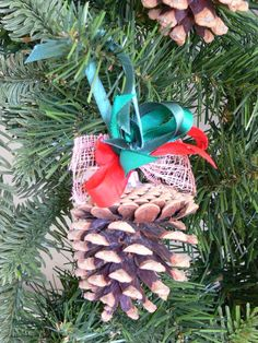 Hand decorated wooden Christmas tree decoration Pine Cone - 6 pieces set. Wooden Christmas Tree Decorations, Burlap Christmas, Christmas Deco, Christmas Crafts, Christmas Ornaments, Holiday Decor, Pine Cones, Crafts For Kids, Display