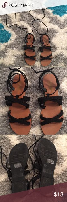 Strappy sandals. Worn only once. Little scuff marks pictured in last picture on the tops of the shoes Brash Shoes Sandals