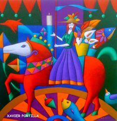 CRUCITA GUTIÉRREZ SEGOVIA: MIS AMIGOS PINTORES - XAVIER PORTILLA Medical Illustration, Illustration Art, Exotic Art, Madhubani Art, Doodles Zentangles, Colorful Paintings, Naive Art, Equine Art, Doodle Art