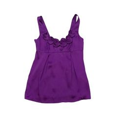 Pre-owned Rebecca Taylor Purple Rosette Neckline Tank ($49) ❤ liked on Polyvore featuring tops, purple, bohemian tank top, purple singlet, boho tops, bohemian tops and silk tank