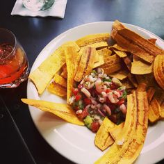 """Awesome plantains and ceviche.  You MUST try this place"" Thanks, Brian! If you can't make it in, pick up a few boxes of Miss Marjorie's Steel Drum #Plantains at Starbucks and recreate this dish!"