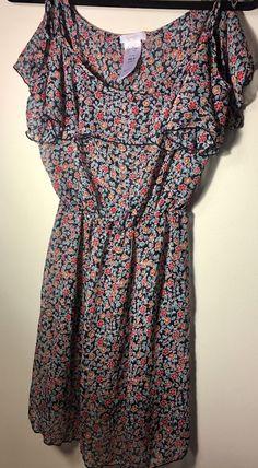 Jessica Simpson Women's Sheer Floral Ruffle Tie Shoulder Sheer Beach Cover Up M | eBay