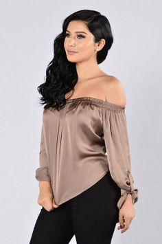 Available in Mocha and Olive Off the Shoulder Sleeves Satin Made in USA Polyester Fashion Top, Bold Fashion, Pretty Outfits, Cute Outfits, Janet Guzman, Denim Jumpsuit, Outfit Combinations, Trendy Hairstyles, Classic Hollywood