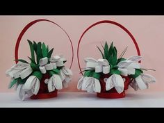☑️quilling artwork ❄ How to make 3D Quilling Flower basket - YouTube
