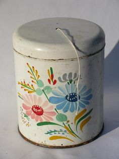 vintage string holder, old Ransburg hand-painted toleware kitchen ...