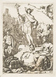 Business card with Mercury on a pedestal, Gerald de Lairesse; the god of trade is represented with his symbolic attributes, a caduceus, winged cap and money bag. (Philadelphia Museum of Art)