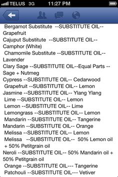 Subsutes For Essential Oils