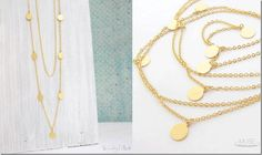 long layered gold disc necklace