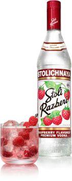 Stoli Razberi Vodka   Razberi Kicker recipe  1 1/2 oz. Stoli Razberi 3 oz. cranberry juice 1 splash Sprite soda  Add stolichnaya razberi vodka, cranberry juice and sprite to an ice-filled highball glass. Garnish with a lime wedge, and serve.