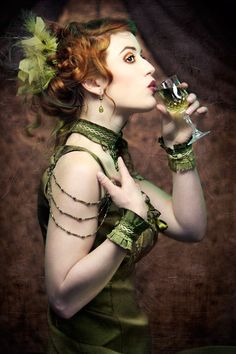 Cafe society - Absinthe silk choker and cuffs by Adornment for Tarts