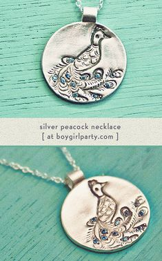 Peacock necklace: delicate but versatile! Handcrafted in sterling silver. Available at http://shop.boygirlparty.com/products/silver-peacock-necklace