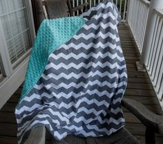 Large Gray Chevron and Aqua Minky Dot Blanket CHOICE by JuliesBags