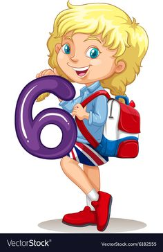 Little girl holding number six Royalty Free Vector Image