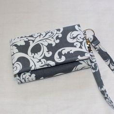 NEW STYLE TECH Cell Phone Case Wristlet Wallet for iPhone - Galaxy S4 Smart Phones / Gray/White Damask / You Choose Interior Color