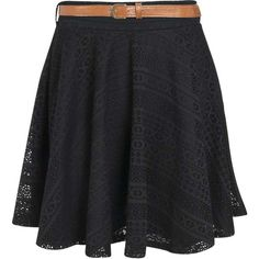 Boohoo Lydia All Over Crochet Belted Skater Skirt ($14) ❤ liked on Polyvore featuring skirts, high-waist skirt, high waisted skirts, sheer skirt, flared skirt and crochet skirt