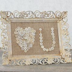 Vintage button messages in vintage weathered frames. A charming and unique addition to your vintage wedding.  @Cloth & Patina