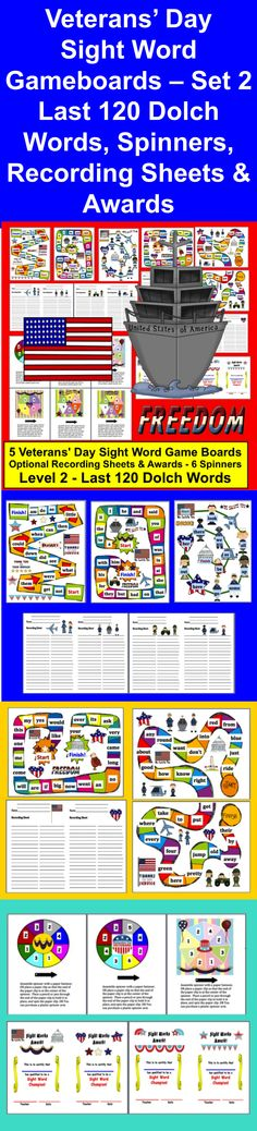 $ Veterans' Day Patriotic Themed Sight Words Literacy Centers Game Board Activities   ★ 5 Different Veterans' Day Game Boards   ★ Optional Veterans' Day recording sheets & awards  ★ LAST 120 Dolch sight vocabulary words.