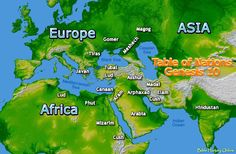 Enlarged Map of The Original Nations and Races in Genesis 10 (Migration of Noah's sons)
