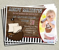 Shop for on Etsy, the place to express your creativity through the buying and selling of handmade and vintage goods. Birthday Party Menu, Fourth Birthday, 3rd Birthday Parties, Boy Birthday, Birthday Ideas, Pirate Birthday Invitations, Party Ideas, Pirate Quotes, Mermaids