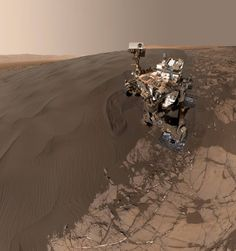 """Jan. 19, 2016, self-portrait of NASA's Curiosity Mars rover shows the vehicle at """"Namib Dune,"""" where the rover's activities included scuffing into the dune with a wheel and scooping samples of sand for laboratory analysis."""