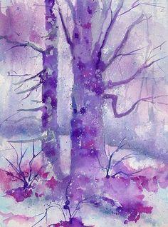 Purple watercolor trees