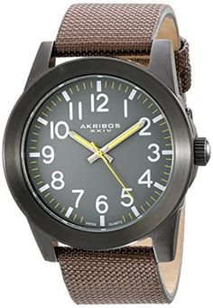 Akribos XXIV Mens Black Stainless Steel Watch with Brown Canvas Strap ** Check this awesome product by going to the link at the image. Black Stainless Steel, Stainless Steel Watch, Brown Canvas, Weekend Style, Casual Watches, Omega Watch, Quartz, Men, Accessories