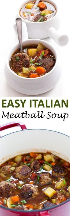 Italian Meatball Soup loaded with vegetables, beef meatballs and Italian broth. A super satisfying and hearty soup! | chefsavvy.com #recipe #Italian #meatballs #soup #beef