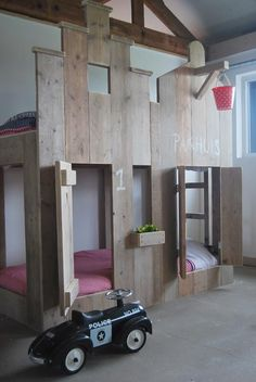 Love the wood work in this original children's bedroom