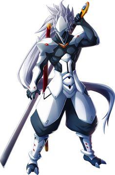 Hakumen, one of my favourite BlazBlue characters~ Game Character Design, Character Design References, Character Concept, Character Art, Arte Ninja, Arte Robot, Armor Concept, Concept Art, Fantasy Characters