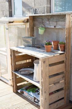istutuspöytä,kuormalava,sinkki,ruukku,Tee itse - DIY